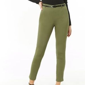 Green Skinny Pants with Black Belt
